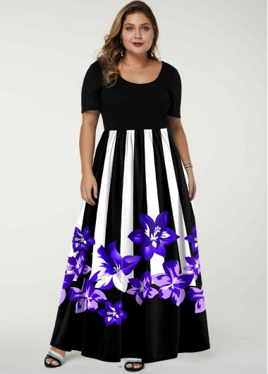 Stripe and Floral Print Short Sleeve Plus Size Dress - 1X