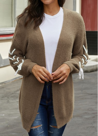 Open Front Lace Up Long Sleeve Cardigan - XL