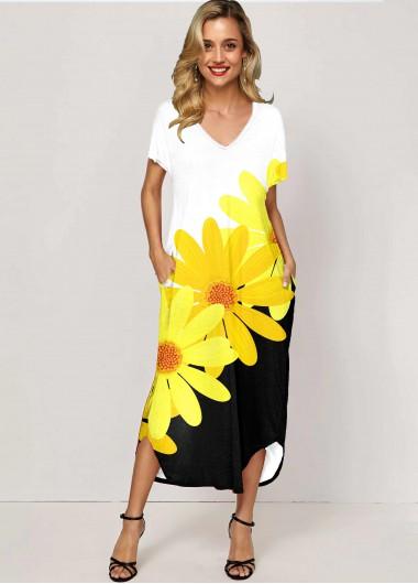 Daisy Print Side Pocket Color Block Maxi Dress - 10