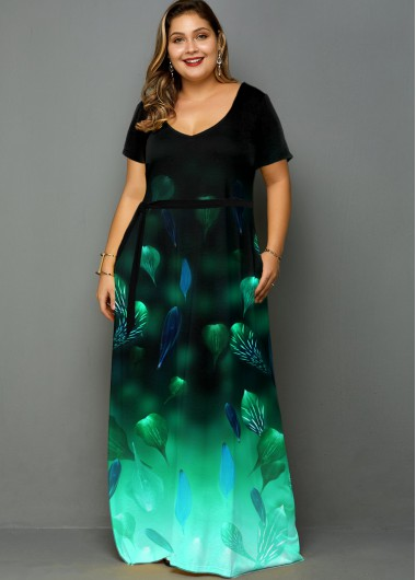 Plus Size Side Pocket Printed Ombre Dress - 1X