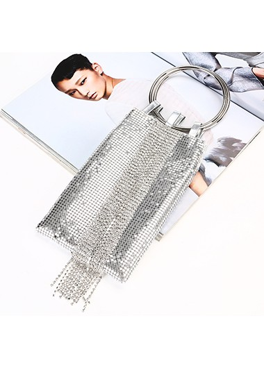Silver Chain Tassel Rhinestone Detail Sequin Bag - One Size