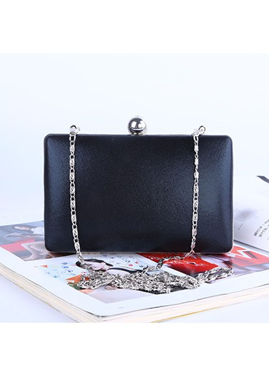 Metal Chain Black PU Evening Bag - One Size