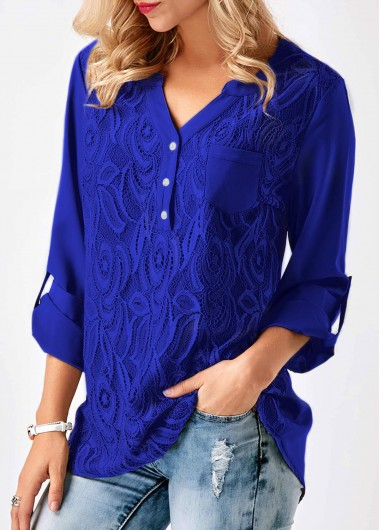 Lace Panel Roll Tab Sleeve Split Neck Blouse - L