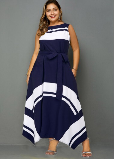 Plus Size Asymmetric Hem Contrast Belted Dress - 1X