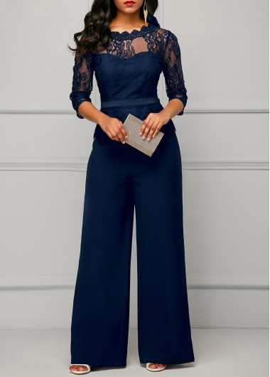 Lace Panel Round Neck Three Quarter Sleeve Jumpsuit - L