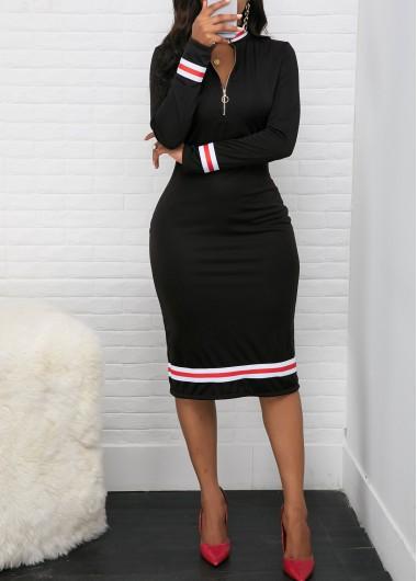 Contrast Striped Quarter Zip Long Sleeve Dress - L