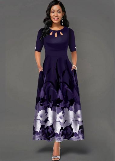 Floral Print Cutout Neck Side Pocket Maxi Dress - L