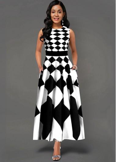 Geometric Print Side Poclket Sleeveless Maxi Dress - L