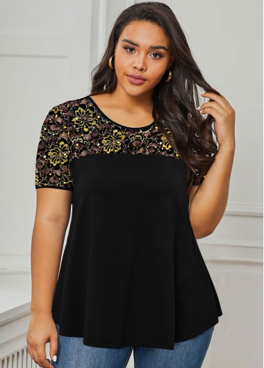 Plus Size Lace Panel Sequin Detail T Shirt - 1X