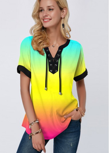 Ombre Rainbow Color Lace Up Printed Blouse - L