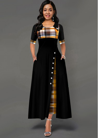 Plaid Print Inclined Button Pocket Dress