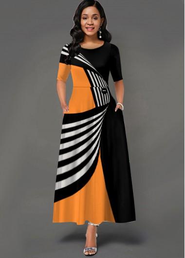 Geometric Print Side Pocket Round Neck Maxi Dress - L
