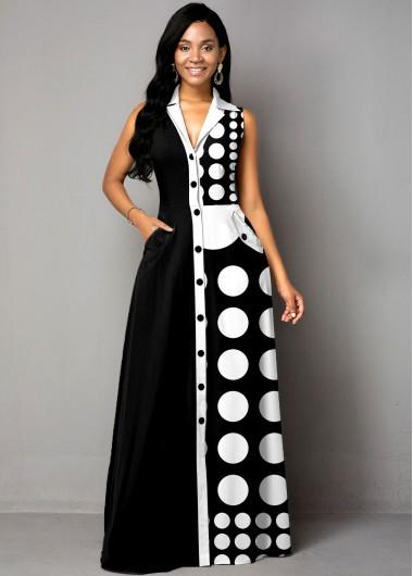 Button Up Polka Dot Color Block Maxi Dress - L