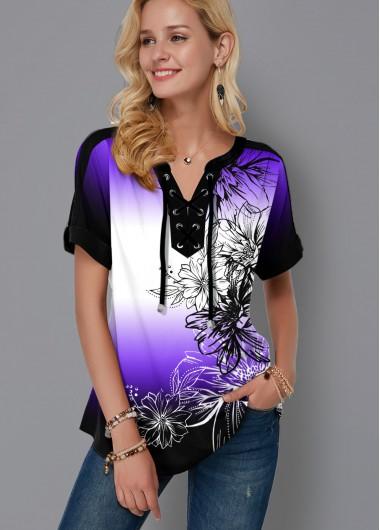 Ombre Lace Up Floral Print Blouse - XS