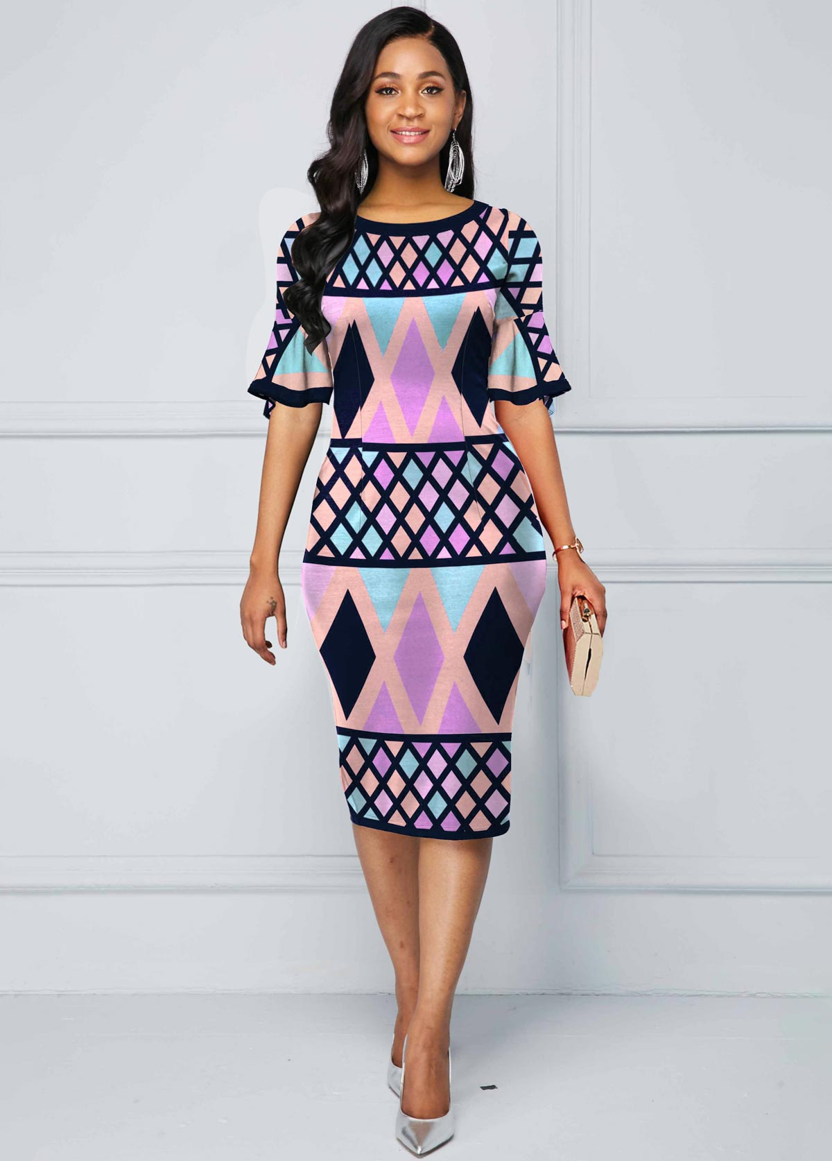 Geometric Print Flare Sleeve Multi Color Dress