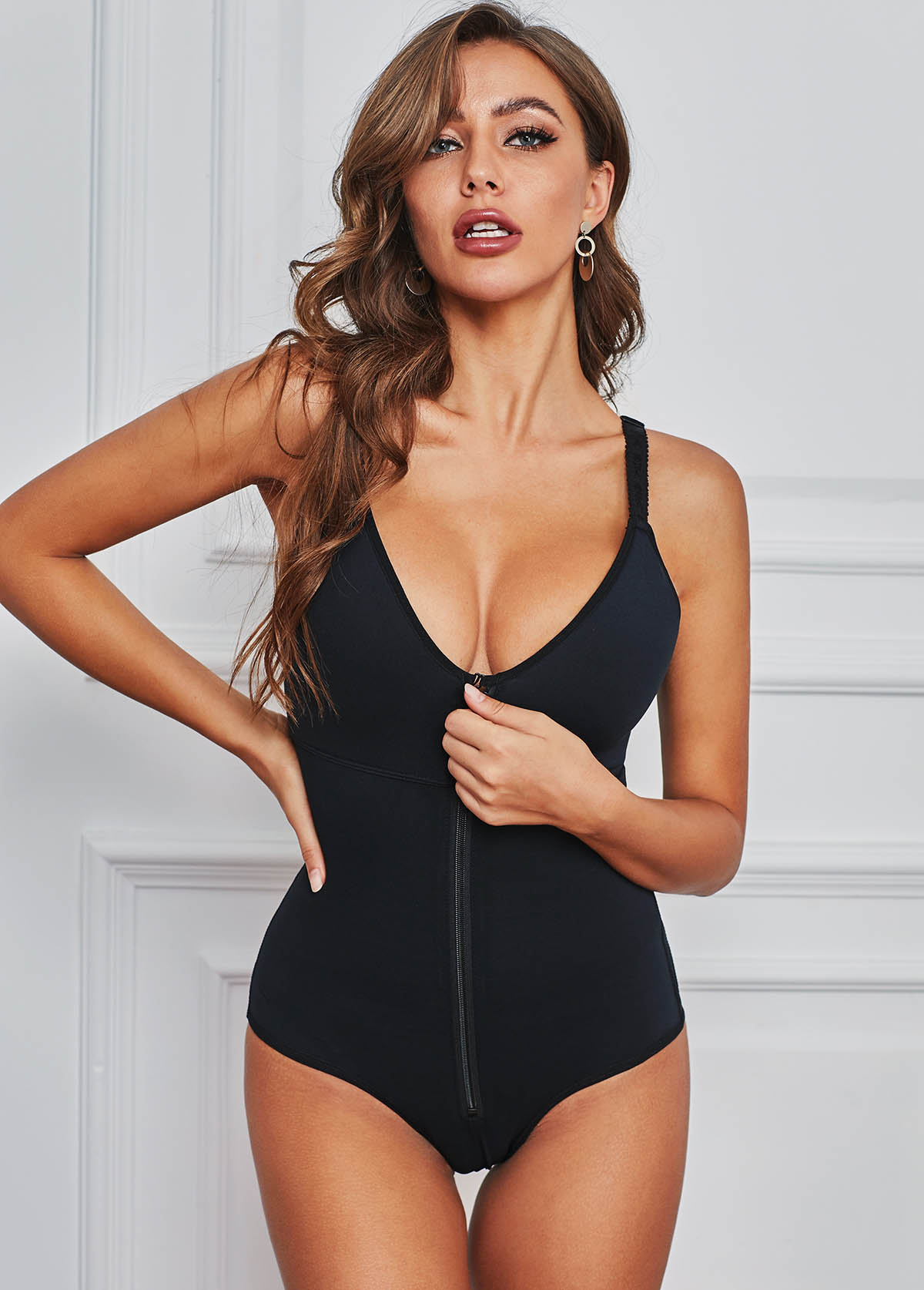 Spaghetti Strap Zipper Closure Black Bodysuit