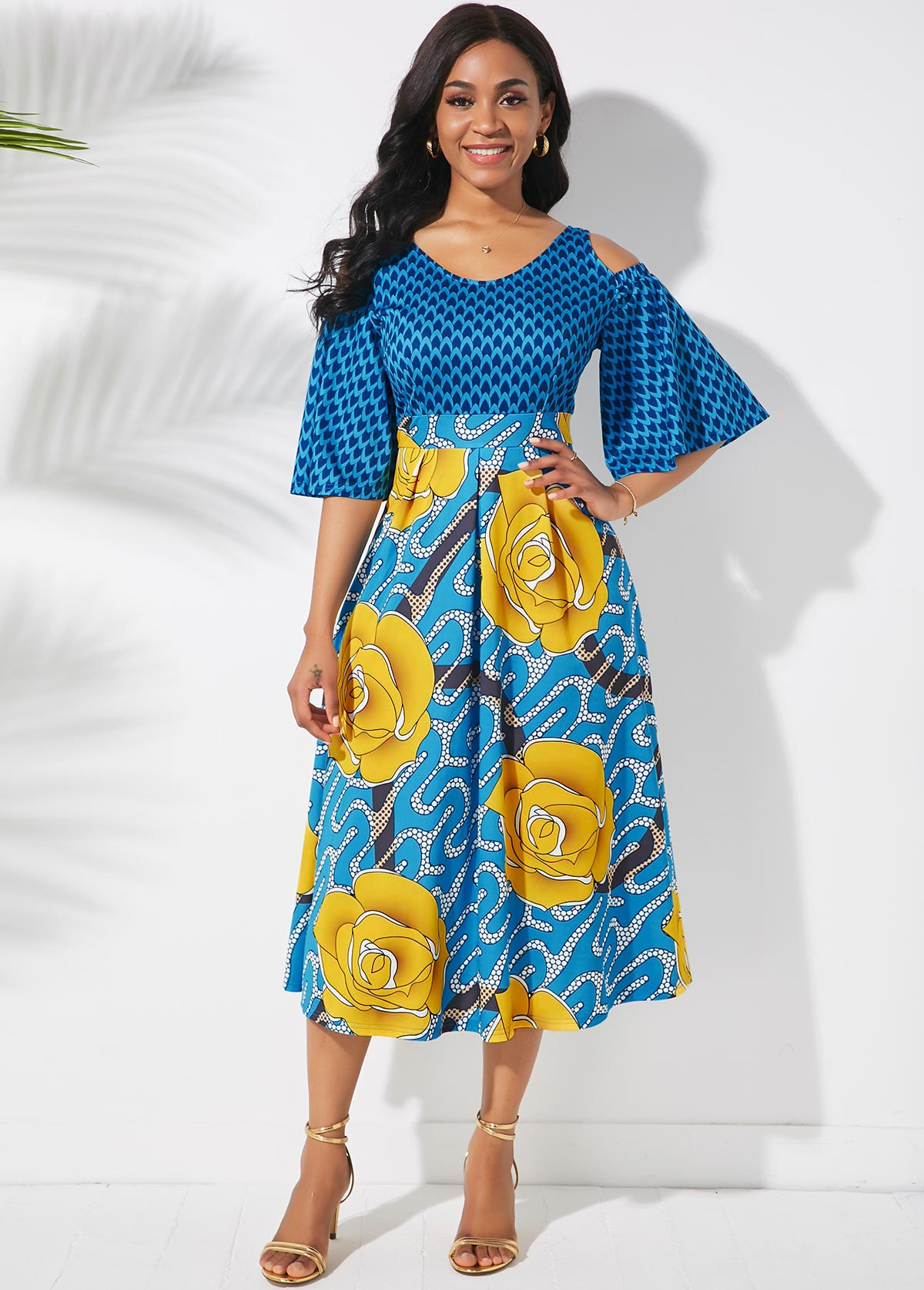 Butterfly Sleeve Cold Shoulder Printed Dress
