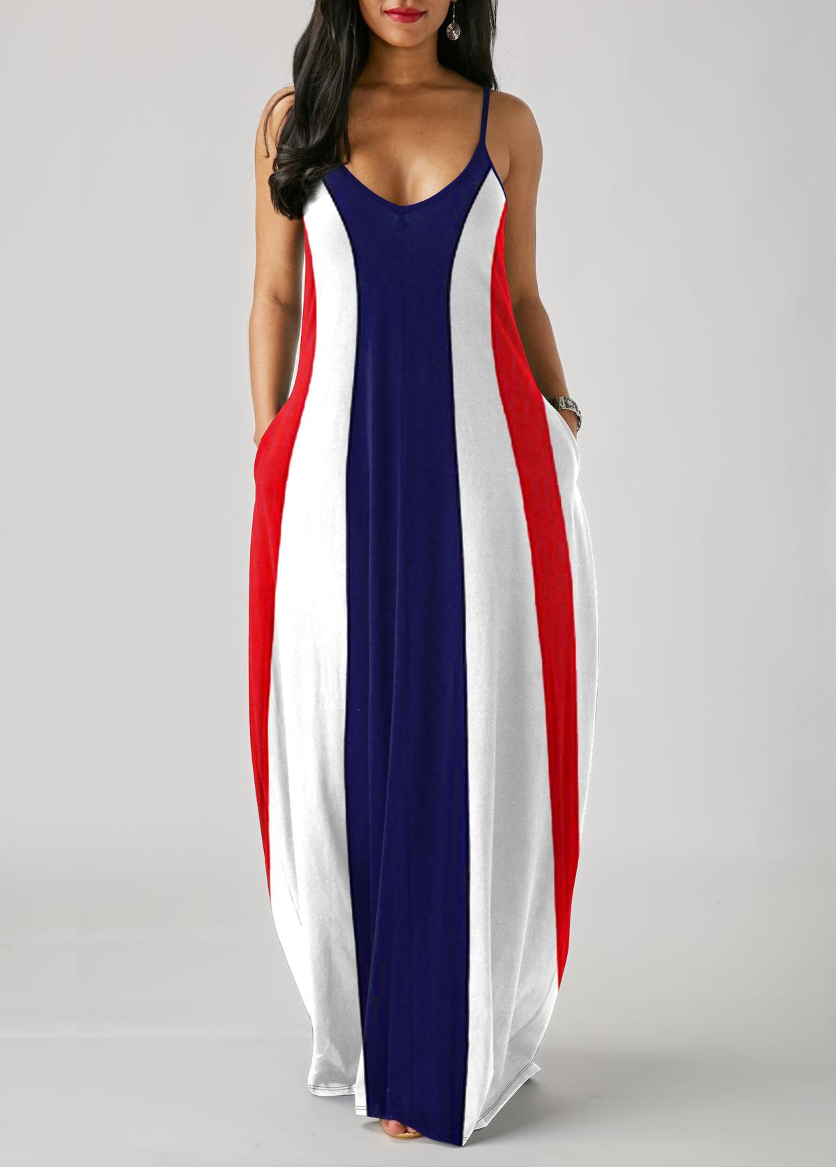 Color Block Printed Spaghetti Strap Maxi Dress