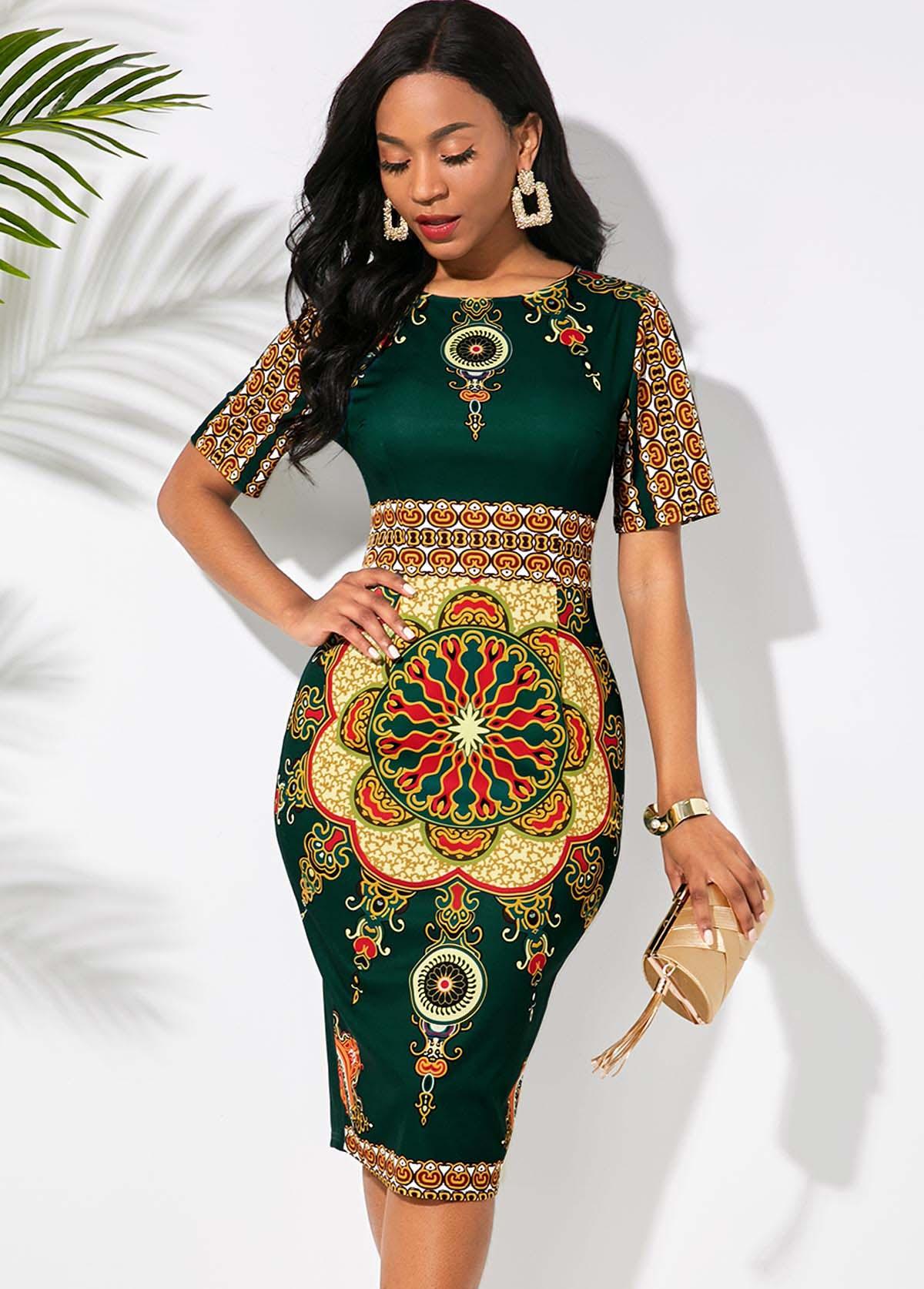 Tribal Print Round Neck Half Sleeve Dress