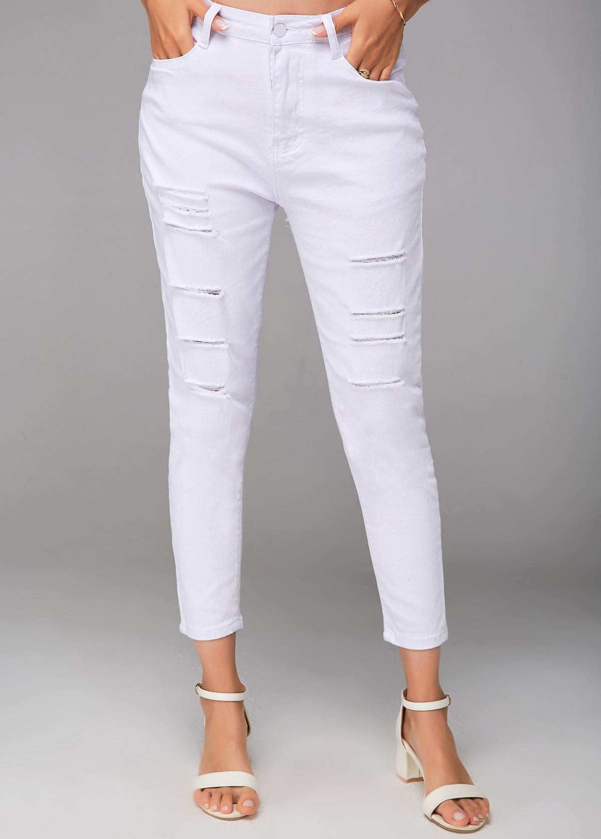 Shredded White Cropped Zipper Closure Pants