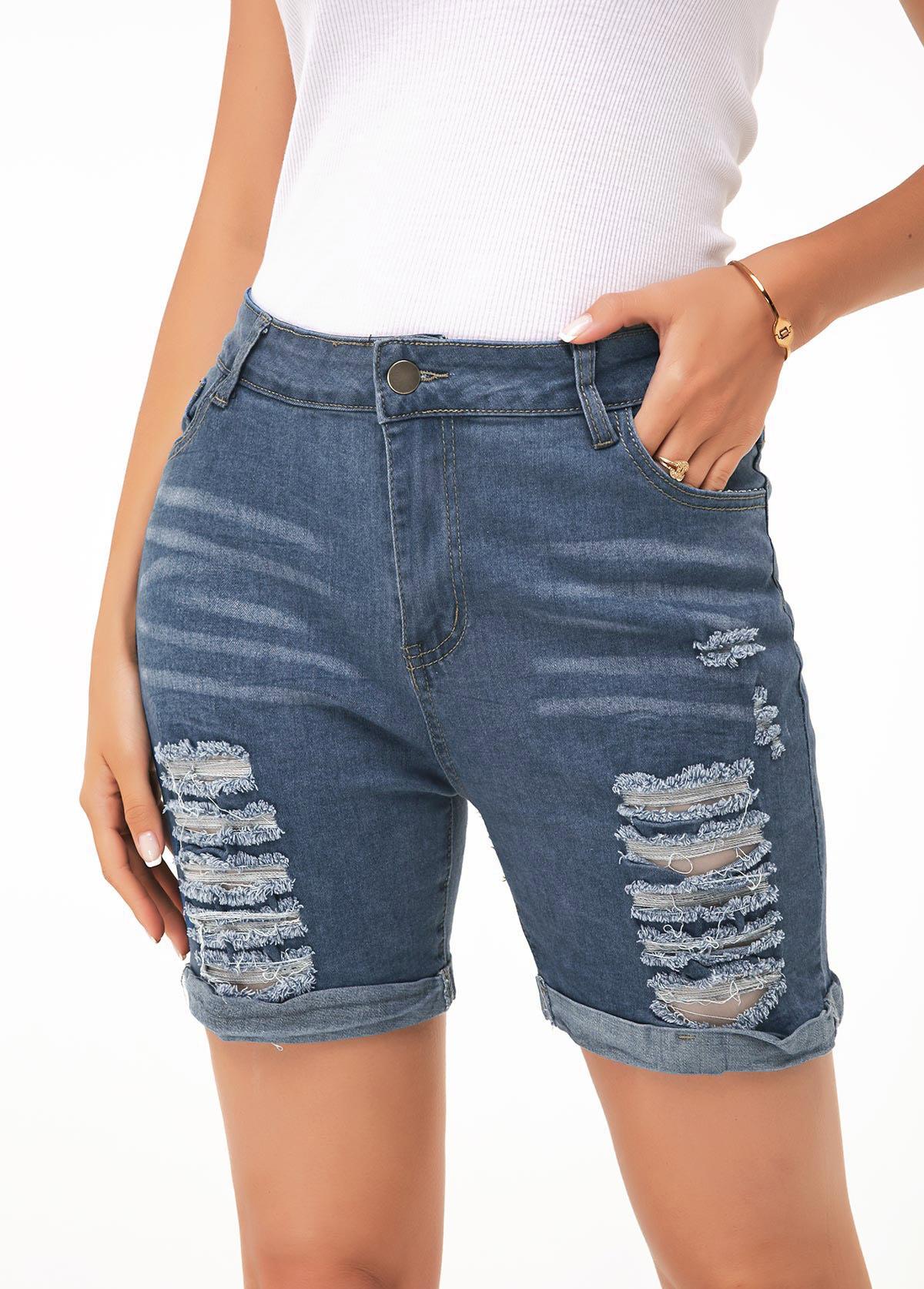 Shredded Denim Blue Button Up Shorts