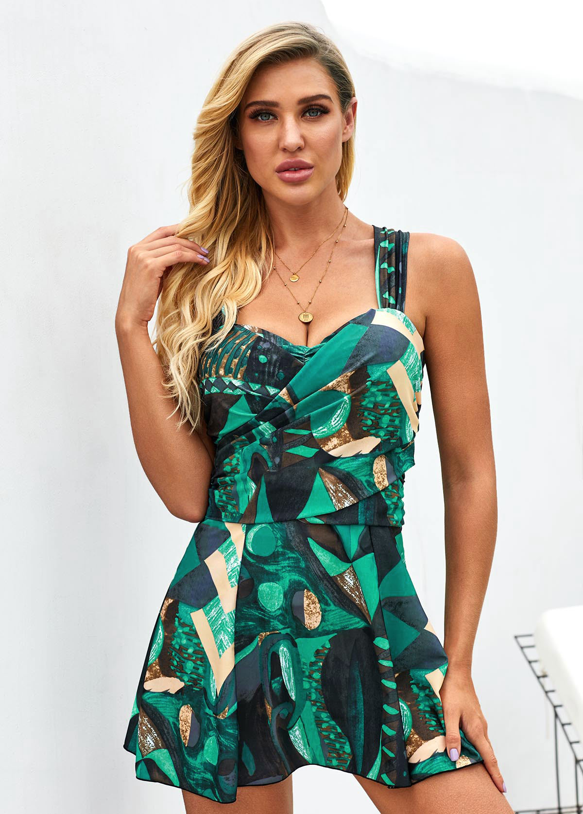 Wide Strap Printed Cross Back Swimdress and Shorts