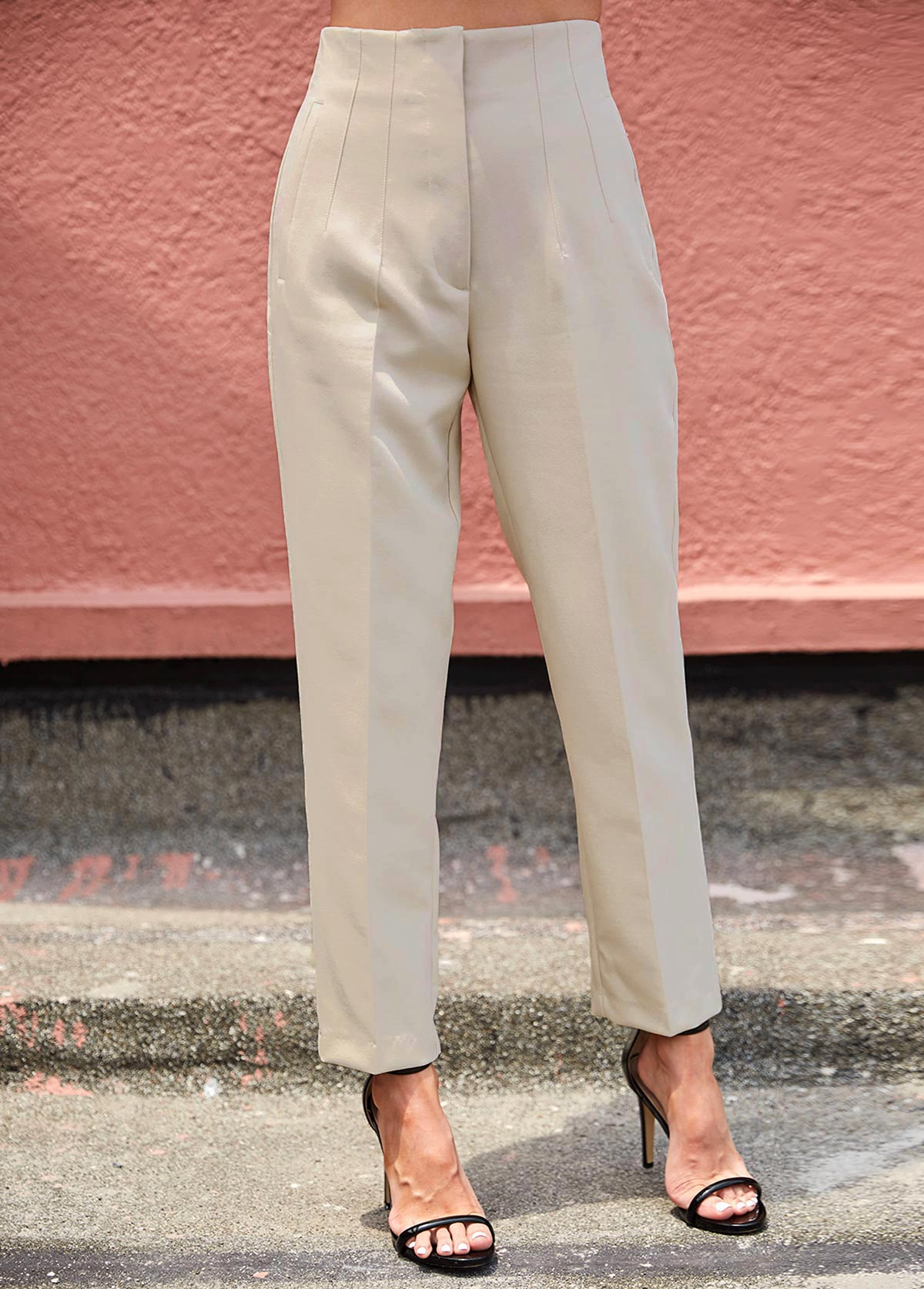 High Waist Beige Zipper Fly Pants