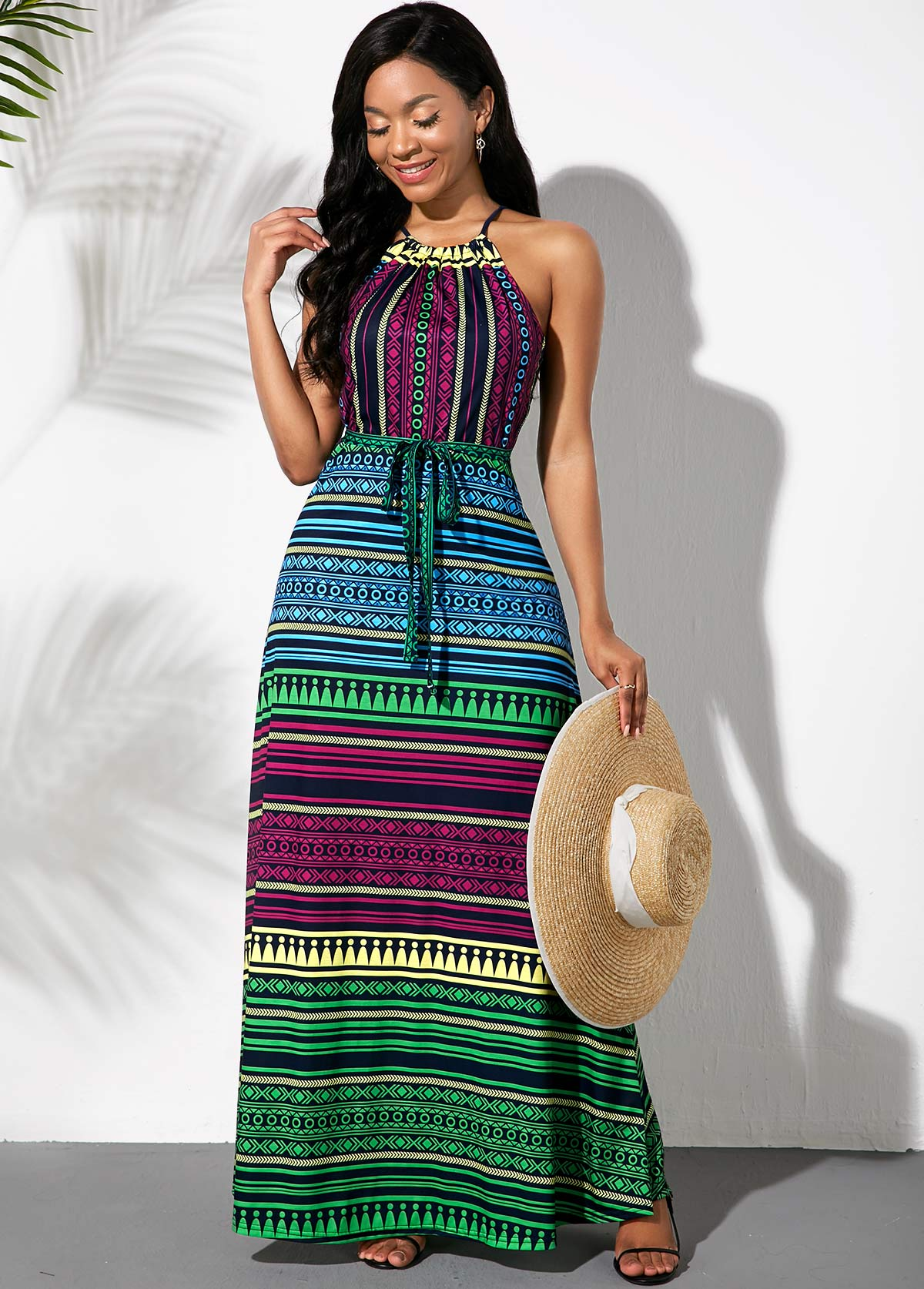 Multicolor Striped Bowknot Sash Dress