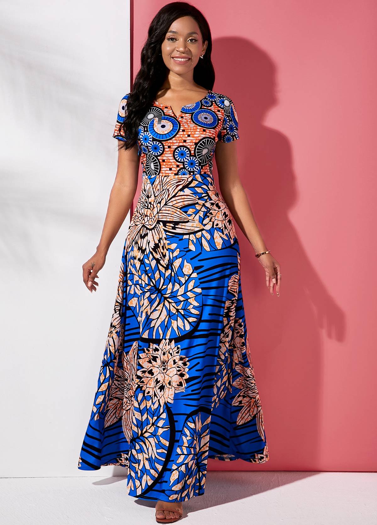 Tribal Print Round Neck Short Sleeve Maxi Dress