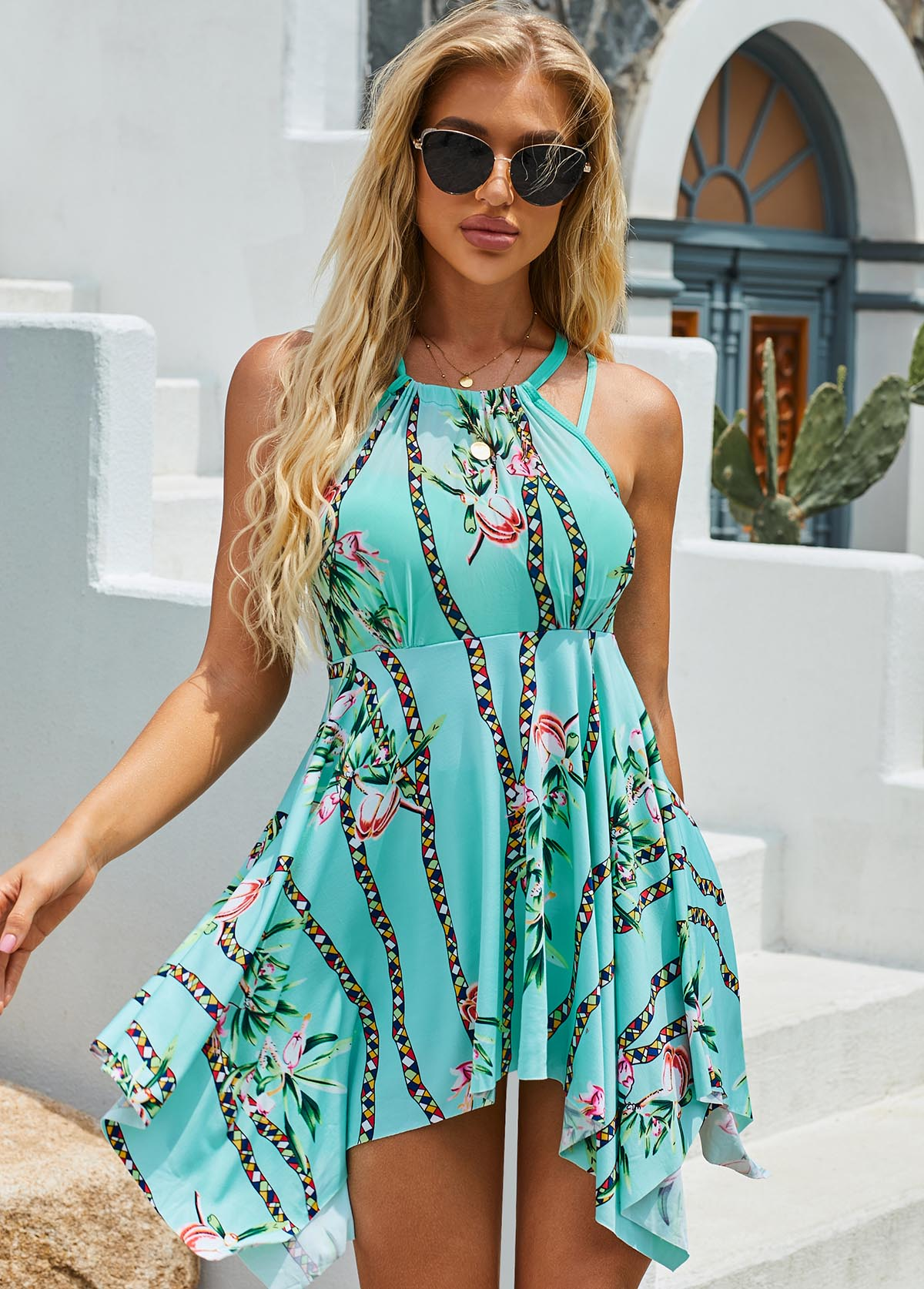 Flower Print Halter Hanky Hem Cyan Swimdress and Shorts