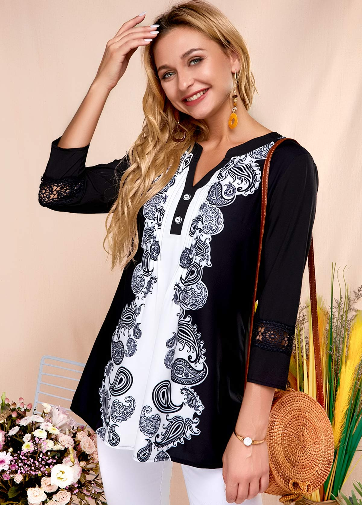 Symmetric Print Split Neck Black Blouse
