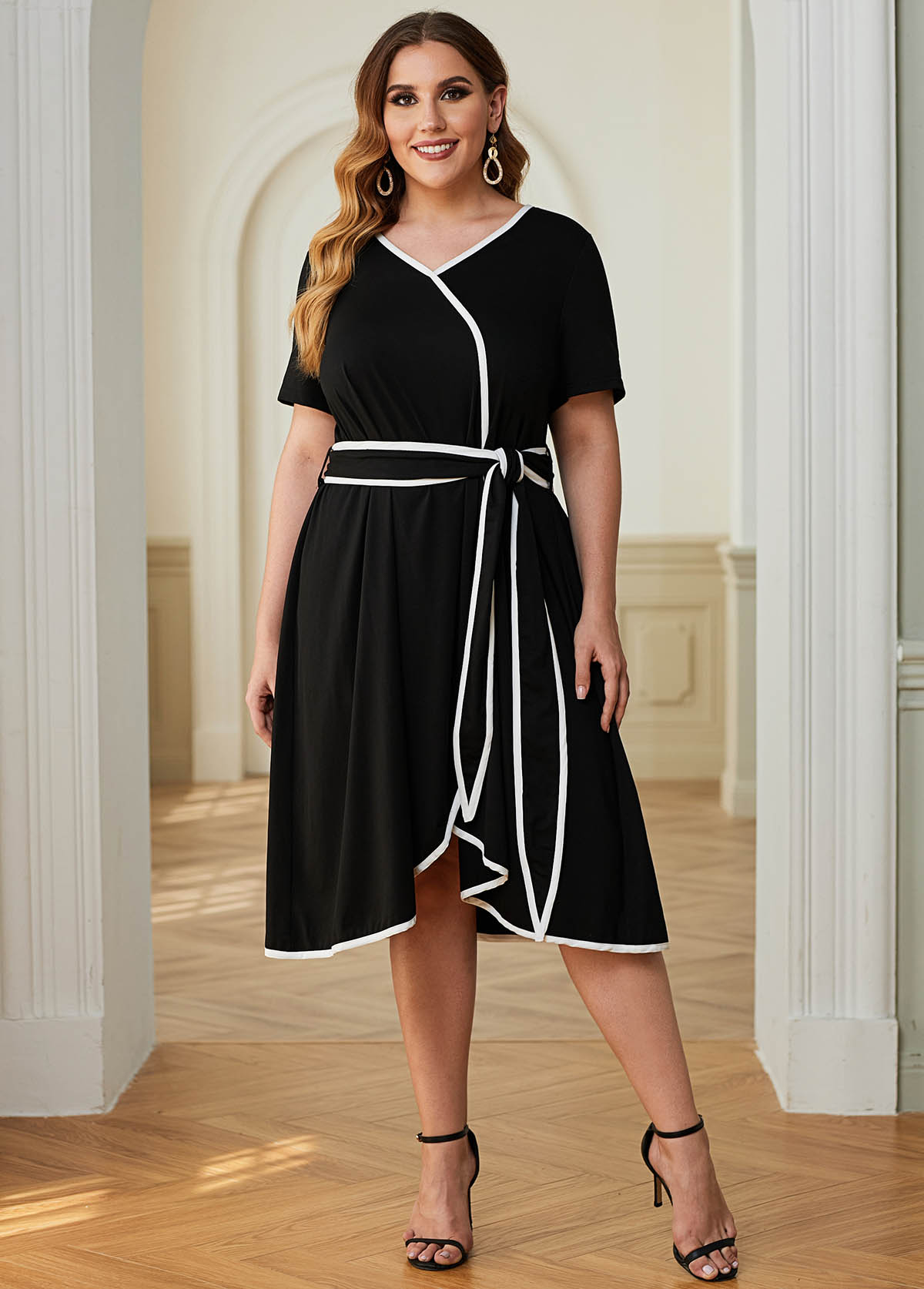 Plus Size Contrast Piping Belted Dress