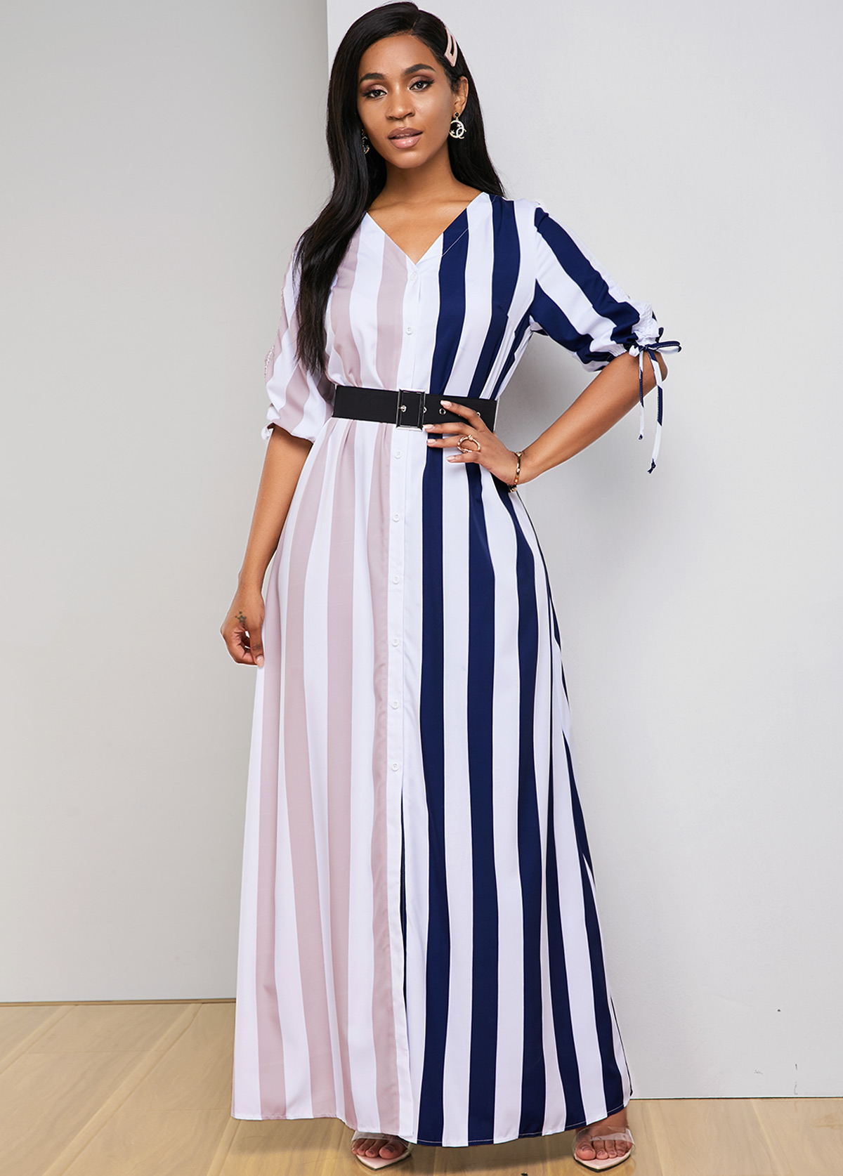 Contrast Striped Drawstring Sleeve V Neck Maxi Dress