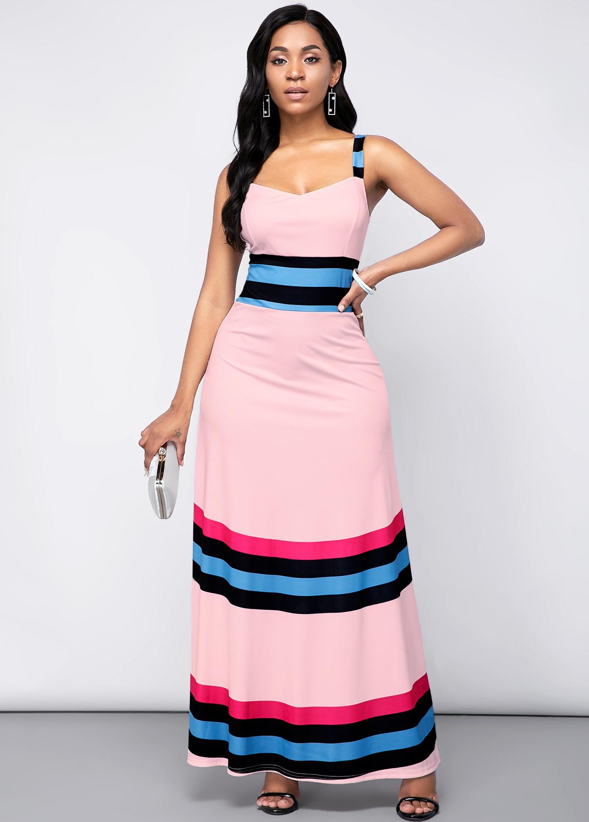 Rainbow Stripe Spaghetti Strap High Waist Dress