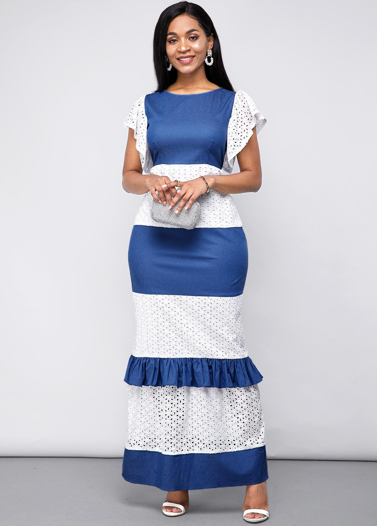 Lace Panel Short Sleeve Maxi Dress