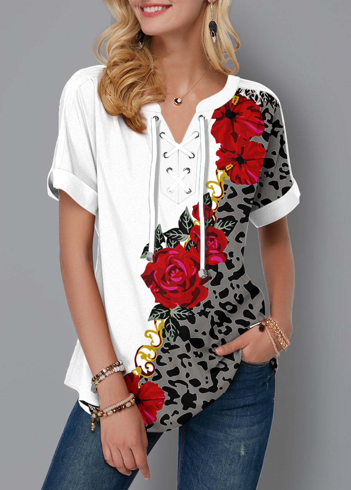 Leopard and Flower Print Lace Up Blouse