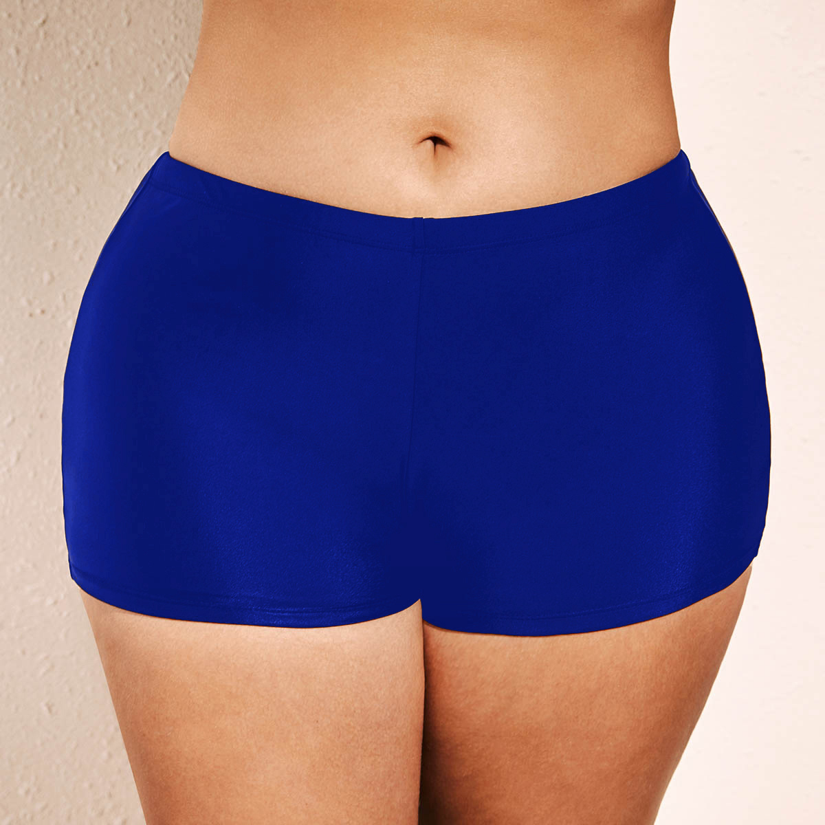 Mid Waist Blue Plus Size Swimwear Shorts