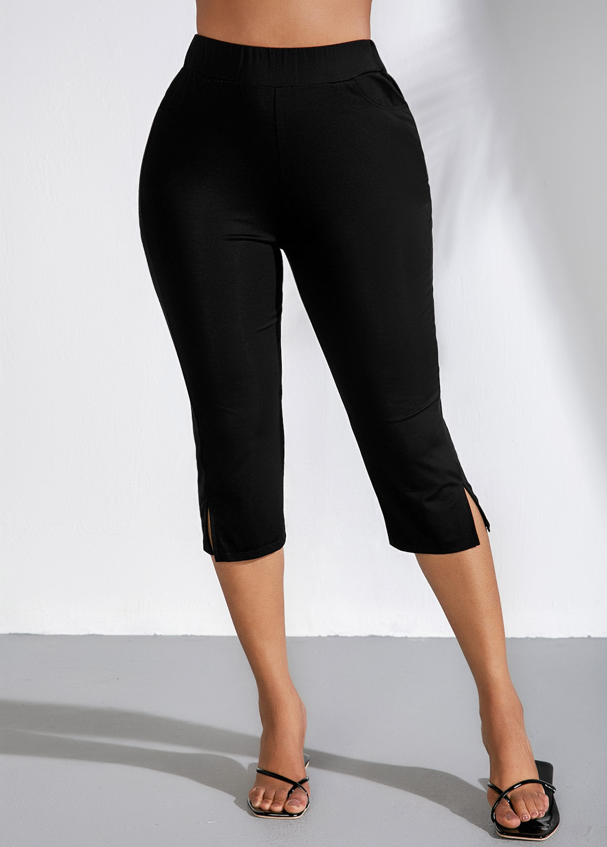 High Waist Side Slit Black Cropped Pants
