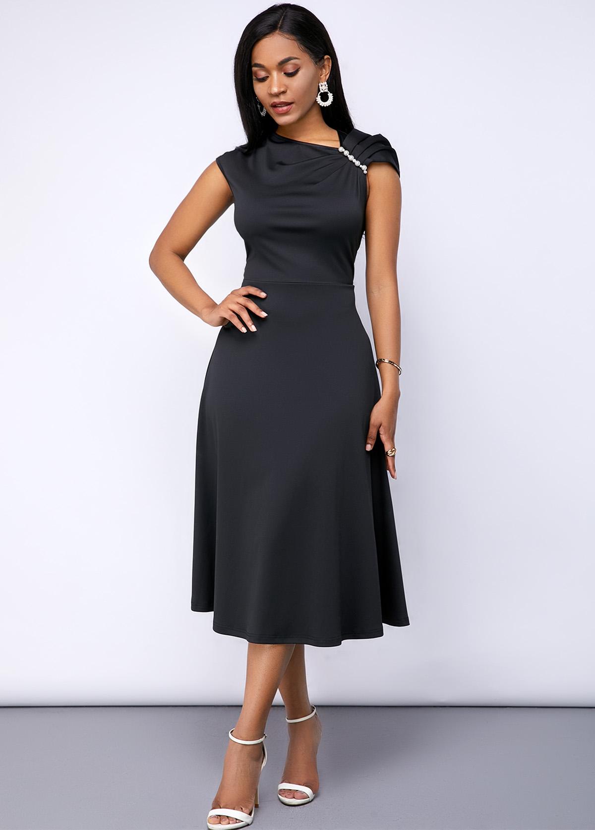 Shirred Shoulder Black Cap Sleeve Dress