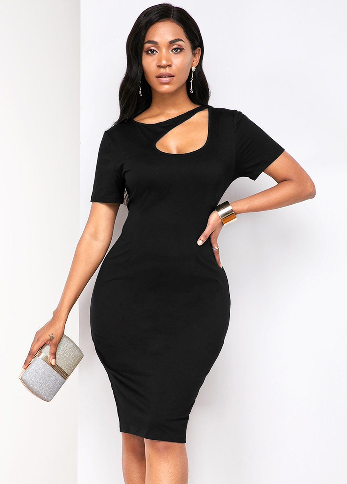 Cutout Front Short Sleeve Back Slit Dress