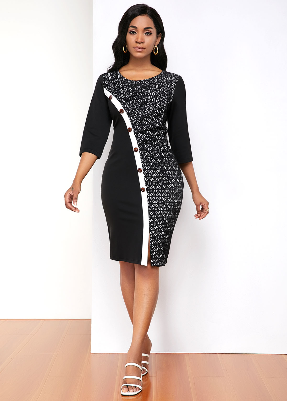 Lace Panel Contrast Stitch Inclined Button Dress