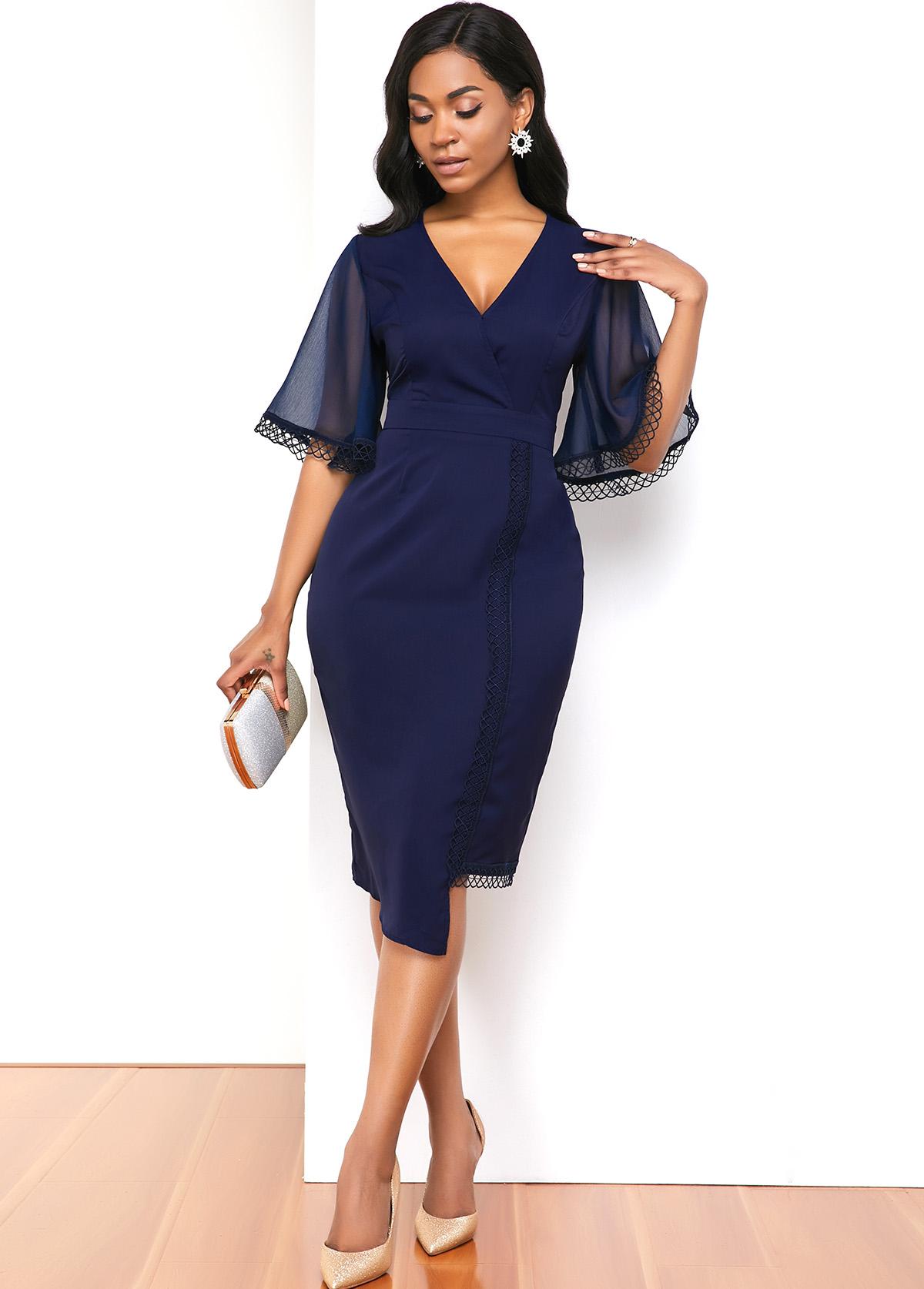 Lace Panel V Neck Asymmetric Hem Dress