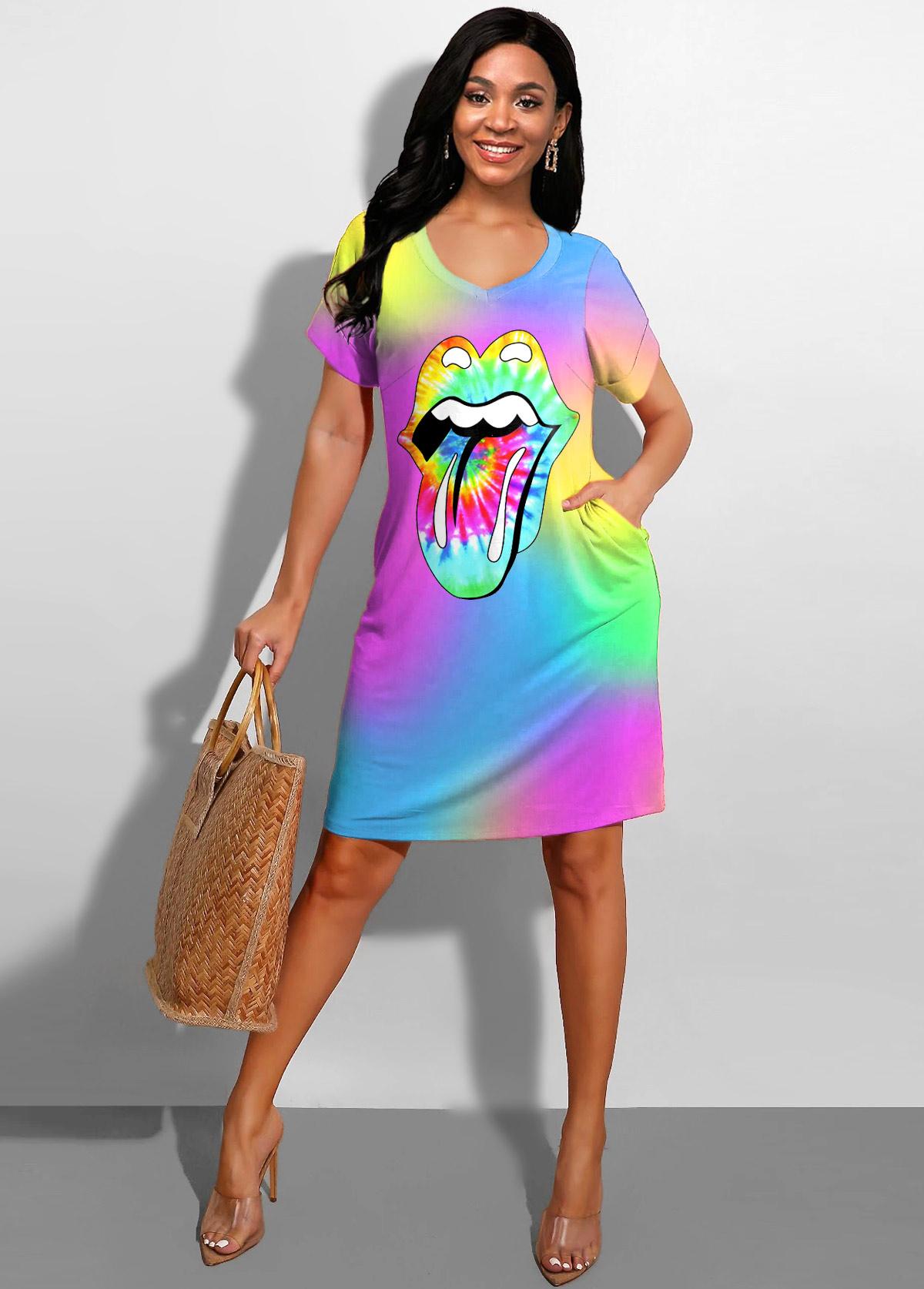 Rainbow Color Printed Side Pocket Dress