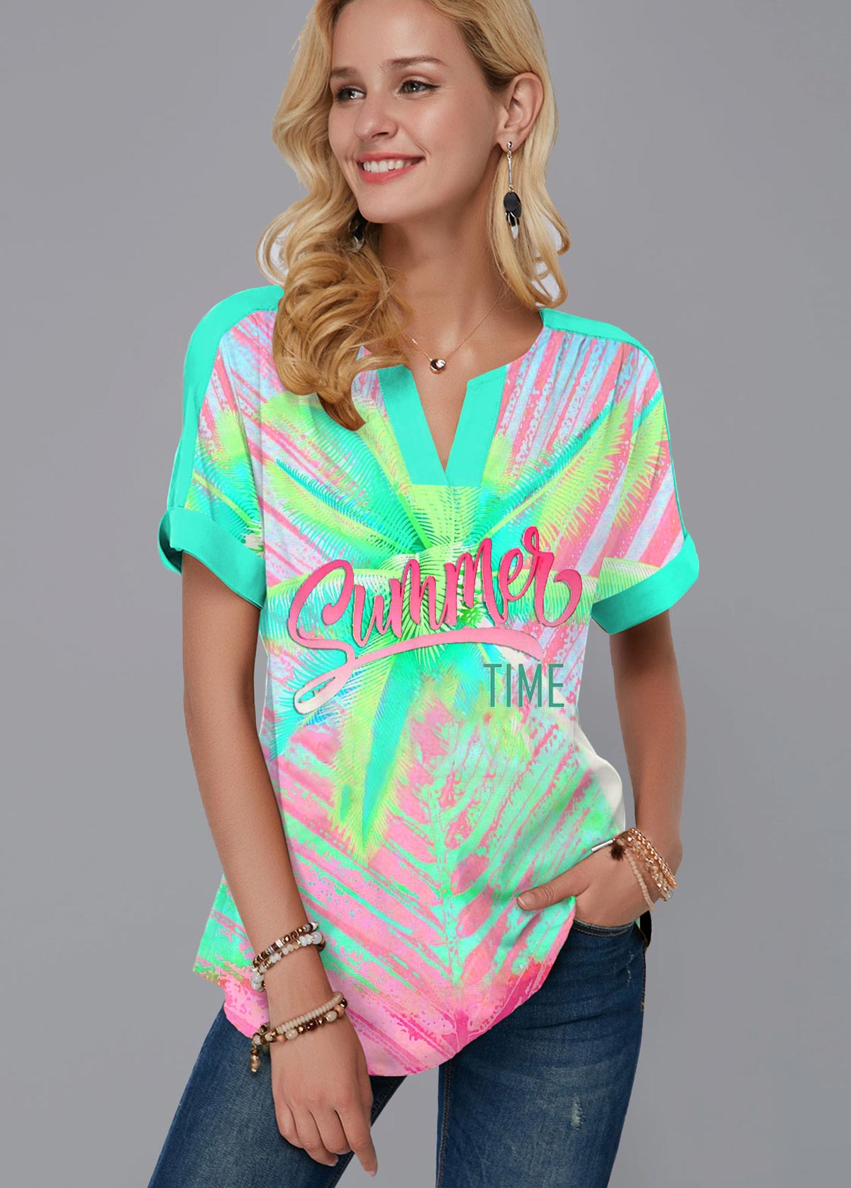 Printed Rainbow Color Short Sleeve T Shirt