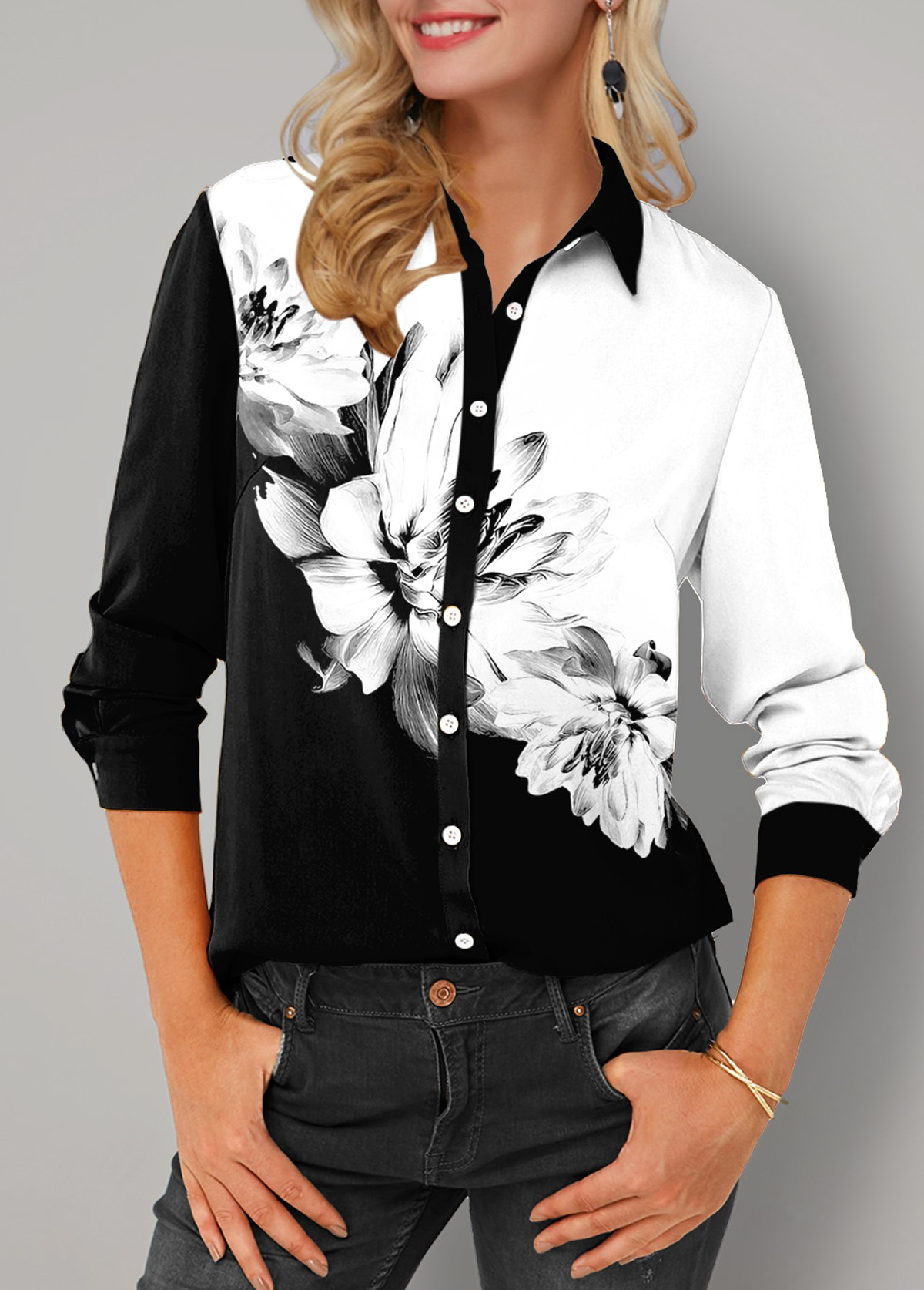 Floral Print Button Up Turndown Collar Blouse