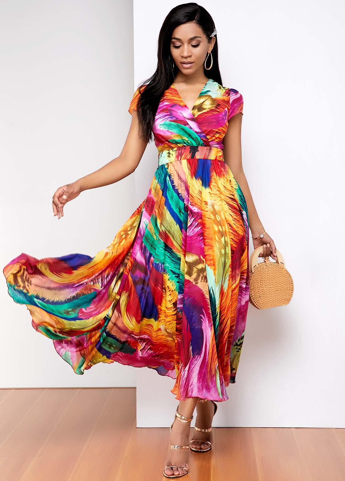 Rainbow gradient print Short Sleeve Dress