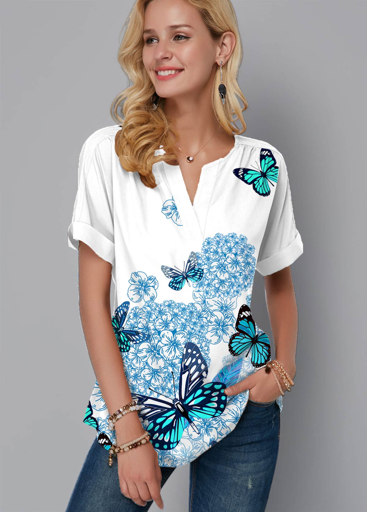 Butterfly Print Split Neck Short Sleeve Blouse