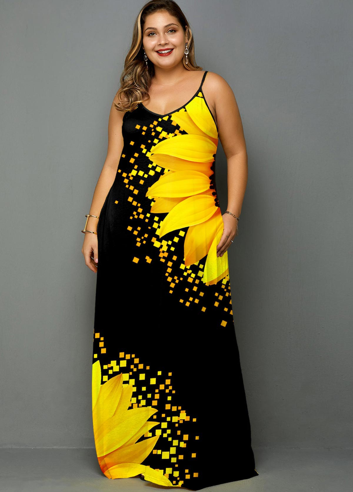 Plus Size Sunflower Print Spaghetti Strap Side Pocket Maxi Dress