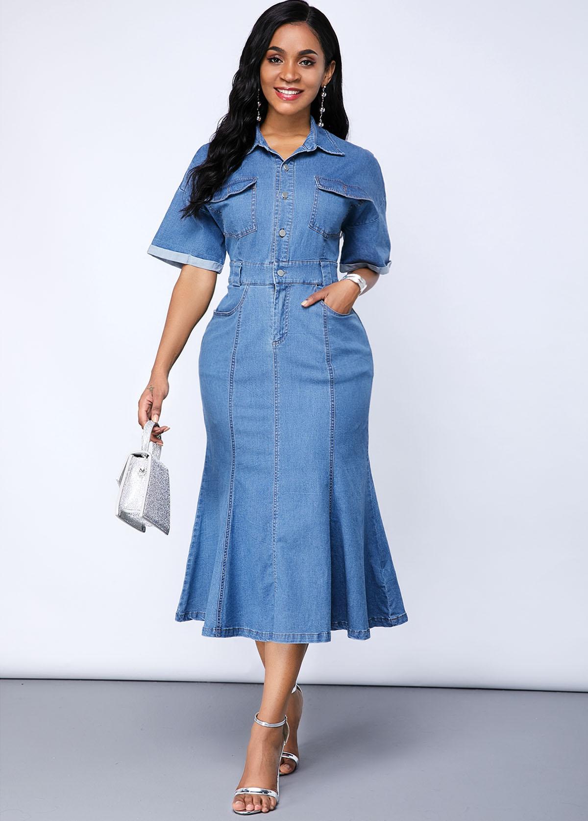 Cutout Back Button Up Pocket Denim Dress
