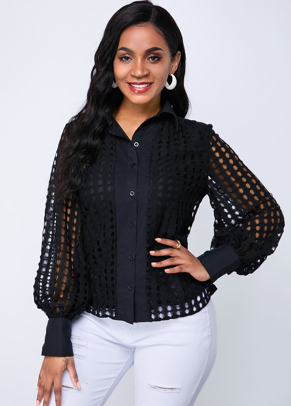 Lantern Sleeve Button Up Lace Blouse